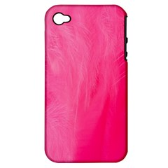 Very Pink Feather Apple iPhone 4/4S Hardshell Case (PC+Silicone)