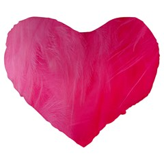Very Pink Feather Large 19  Premium Heart Shape Cushions
