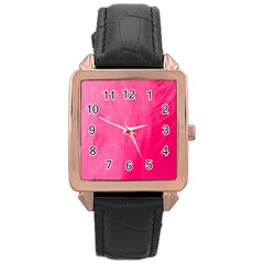 Very Pink Feather Rose Gold Leather Watch