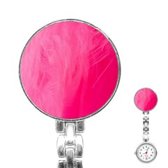 Very Pink Feather Stainless Steel Nurses Watch