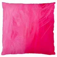 Very Pink Feather Large Flano Cushion Case (Two Sides)