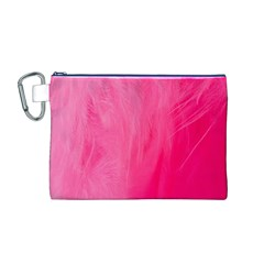 Very Pink Feather Canvas Cosmetic Bag (M)