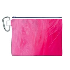 Very Pink Feather Canvas Cosmetic Bag (L)