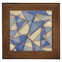 Blue And Tan Triangles Intertwine Together To Create An Abstract Background Framed Tiles