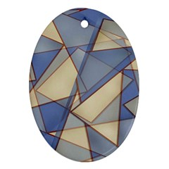 Blue And Tan Triangles Intertwine Together To Create An Abstract Background Ornament (oval)