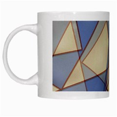 Blue And Tan Triangles Intertwine Together To Create An Abstract Background White Mugs