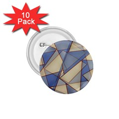 Blue And Tan Triangles Intertwine Together To Create An Abstract Background 1 75  Buttons (10 Pack)