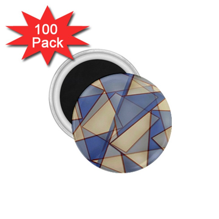 Blue And Tan Triangles Intertwine Together To Create An Abstract Background 1.75  Magnets (100 pack)