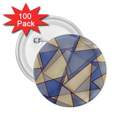 Blue And Tan Triangles Intertwine Together To Create An Abstract Background 2 25  Buttons (100 Pack)
