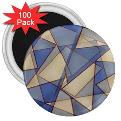 Blue And Tan Triangles Intertwine Together To Create An Abstract Background 3  Magnets (100 Pack)