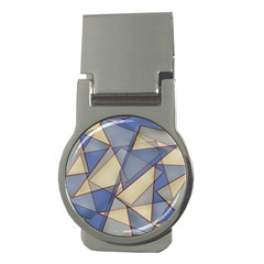 Blue And Tan Triangles Intertwine Together To Create An Abstract Background Money Clips (Round)