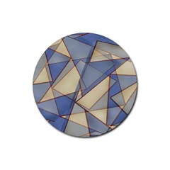 Blue And Tan Triangles Intertwine Together To Create An Abstract Background Rubber Round Coaster (4 Pack)