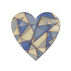 Blue And Tan Triangles Intertwine Together To Create An Abstract Background Heart Magnet