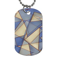 Blue And Tan Triangles Intertwine Together To Create An Abstract Background Dog Tag (One Side)