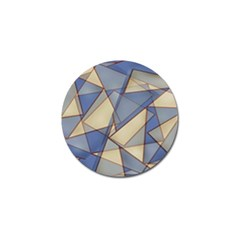 Blue And Tan Triangles Intertwine Together To Create An Abstract Background Golf Ball Marker (4 Pack)