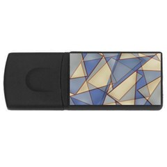 Blue And Tan Triangles Intertwine Together To Create An Abstract Background USB Flash Drive Rectangular (1 GB)