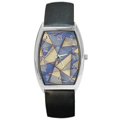 Blue And Tan Triangles Intertwine Together To Create An Abstract Background Barrel Style Metal Watch