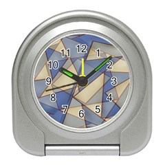 Blue And Tan Triangles Intertwine Together To Create An Abstract Background Travel Alarm Clocks