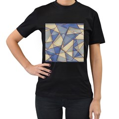 Blue And Tan Triangles Intertwine Together To Create An Abstract Background Women s T Shirt (black) (two Sided)