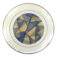 Blue And Tan Triangles Intertwine Together To Create An Abstract Background Porcelain Plates