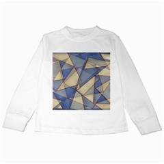 Blue And Tan Triangles Intertwine Together To Create An Abstract Background Kids Long Sleeve T Shirts