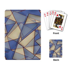 Blue And Tan Triangles Intertwine Together To Create An Abstract Background Playing Card