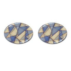 Blue And Tan Triangles Intertwine Together To Create An Abstract Background Cufflinks (Oval)