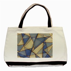 Blue And Tan Triangles Intertwine Together To Create An Abstract Background Basic Tote Bag