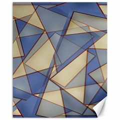 Blue And Tan Triangles Intertwine Together To Create An Abstract Background Canvas 16  X 20