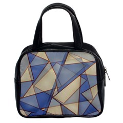 Blue And Tan Triangles Intertwine Together To Create An Abstract Background Classic Handbags (2 Sides)