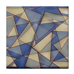 Blue And Tan Triangles Intertwine Together To Create An Abstract Background Face Towel