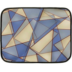 Blue And Tan Triangles Intertwine Together To Create An Abstract Background Double Sided Fleece Blanket (mini)