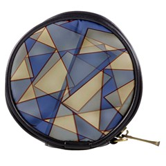 Blue And Tan Triangles Intertwine Together To Create An Abstract Background Mini Makeup Bags