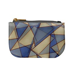 Blue And Tan Triangles Intertwine Together To Create An Abstract Background Mini Coin Purses