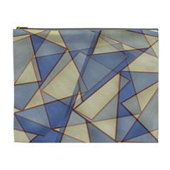Blue And Tan Triangles Intertwine Together To Create An Abstract Background Cosmetic Bag (XL)