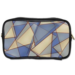 Blue And Tan Triangles Intertwine Together To Create An Abstract Background Toiletries Bags 2 Side