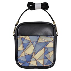 Blue And Tan Triangles Intertwine Together To Create An Abstract Background Girls Sling Bags