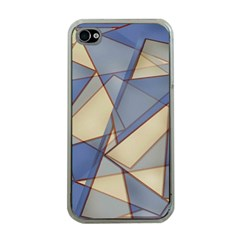 Blue And Tan Triangles Intertwine Together To Create An Abstract Background Apple iPhone 4 Case (Clear)