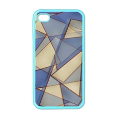 Blue And Tan Triangles Intertwine Together To Create An Abstract Background Apple iPhone 4 Case (Color)