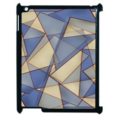 Blue And Tan Triangles Intertwine Together To Create An Abstract Background Apple iPad 2 Case (Black)