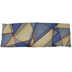 Blue And Tan Triangles Intertwine Together To Create An Abstract Background Body Pillow Case (Dakimakura)