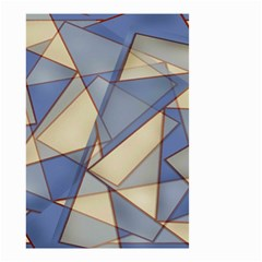 Blue And Tan Triangles Intertwine Together To Create An Abstract Background Small Garden Flag (Two Sides)