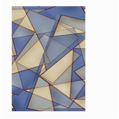 Blue And Tan Triangles Intertwine Together To Create An Abstract Background Large Garden Flag (Two Sides)
