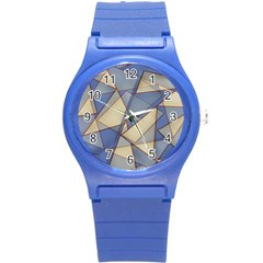 Blue And Tan Triangles Intertwine Together To Create An Abstract Background Round Plastic Sport Watch (S)