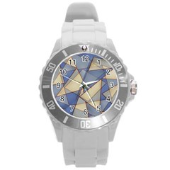 Blue And Tan Triangles Intertwine Together To Create An Abstract Background Round Plastic Sport Watch (l)
