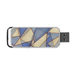 Blue And Tan Triangles Intertwine Together To Create An Abstract Background Portable Usb Flash (one Side)