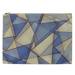 Blue And Tan Triangles Intertwine Together To Create An Abstract Background Cosmetic Bag (XXL)