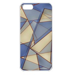 Blue And Tan Triangles Intertwine Together To Create An Abstract Background Apple iPhone 5 Seamless Case (White)