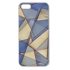 Blue And Tan Triangles Intertwine Together To Create An Abstract Background Apple Seamless iPhone 5 Case (Clear)