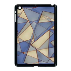 Blue And Tan Triangles Intertwine Together To Create An Abstract Background Apple Ipad Mini Case (black)